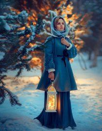 Фотосессия для девушек зимняя снежная на природе