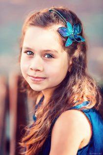 Детская фотосессия. Фотоспроект с украшениями из орхидей.