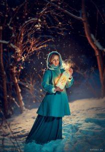 Вечерняя фотосессия для девушки зимой