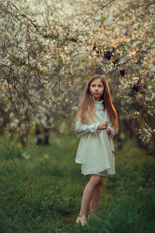 цветение вишни в коломенком. фотосессия для девочки 9 лет