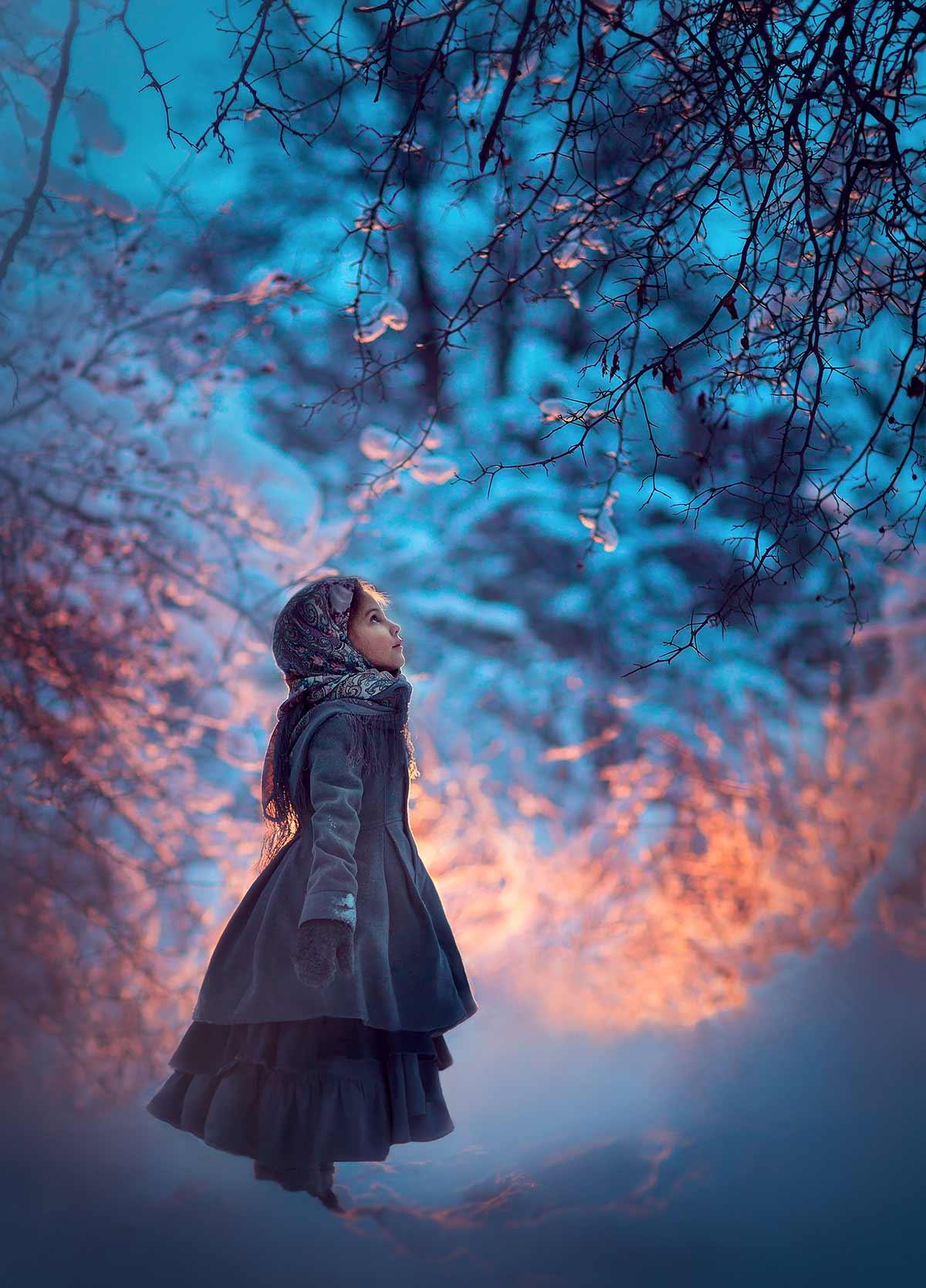 зимняя фотосессия для девочки. Фотограф Катрин Белоцерковская