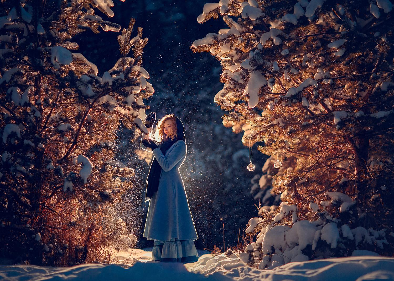 Зимняя фотосессия на улице в Москве для девушек и девочек