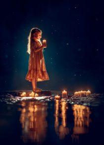 Вечерняя фотосессия девочка со свечами
