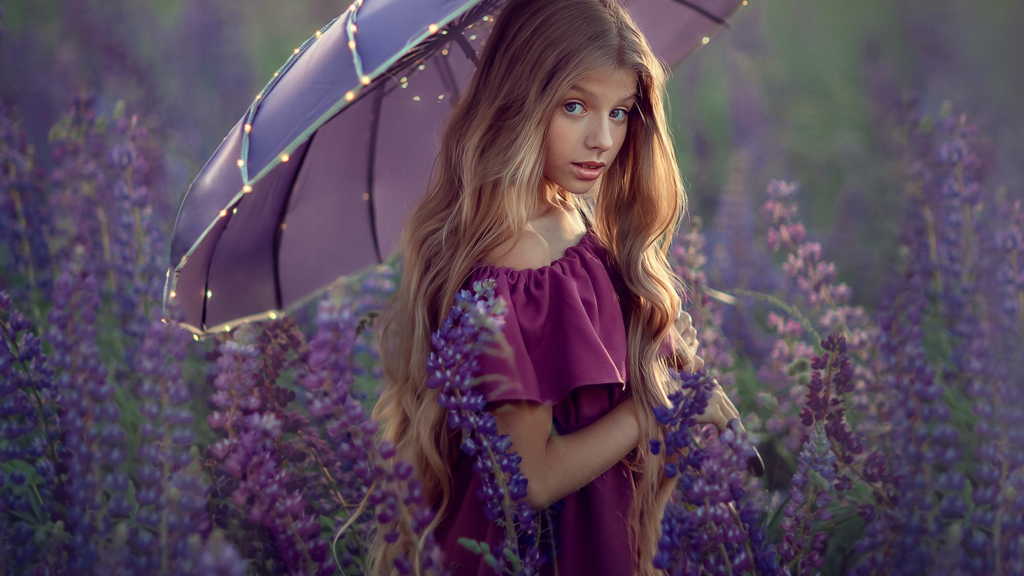 девочка под зонтиком в люпиновом поле