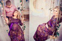 Беременная девушка на качелях. Фотосессия беременности в студии. Фотограф для беременных в Москве