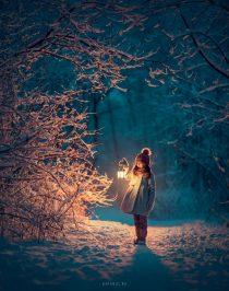 Необычная фотосессия в парке для девочки зимой