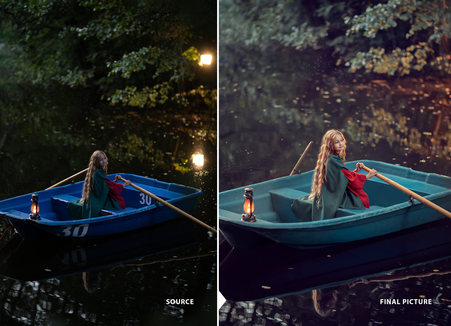 girl in the boat. photography materclass before and after